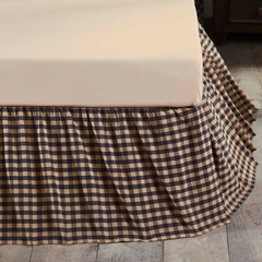 Navy Check Bedskirt 16""