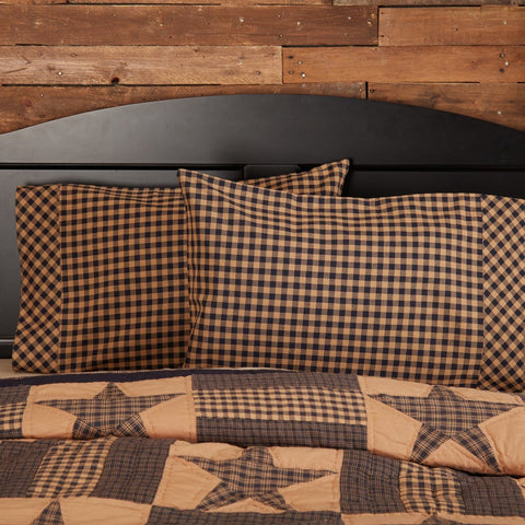 Navy Check Pillow Case Set