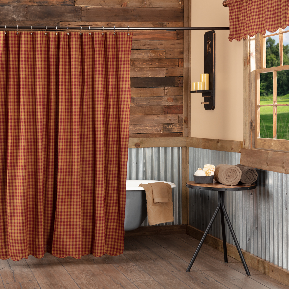 Burgundy Check Shower Curtain Retro Barn Country Linens