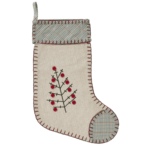 Tidings Embroidered Stocking - Retro Barn Country Linens - 2