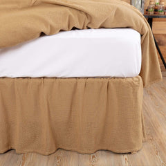 Burlap Natural Ruffled Bedskirt 16""