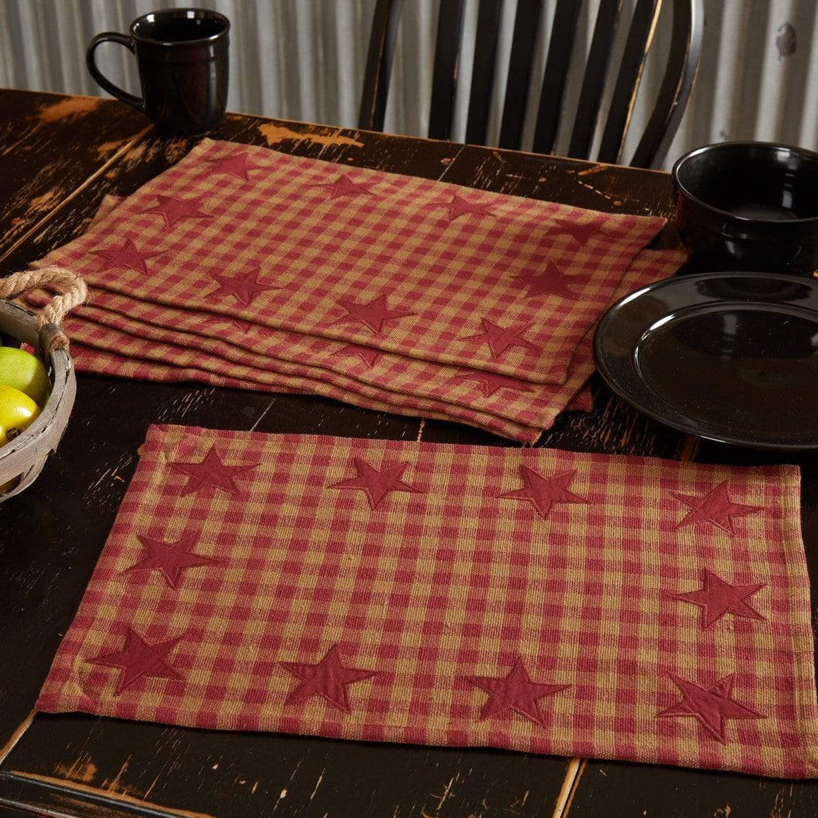 Burgundy Star Placemat Set of 6
