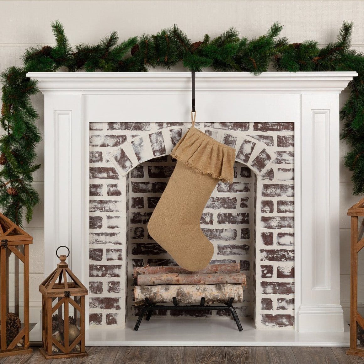 Burlap Christmas Stocking - Set of 2