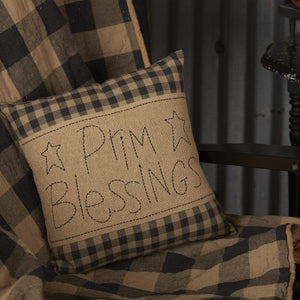 Black Check Prim Blessings Pillow