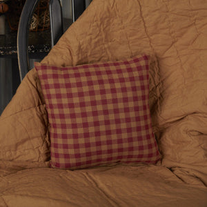 Burgundy Check Small Pillow