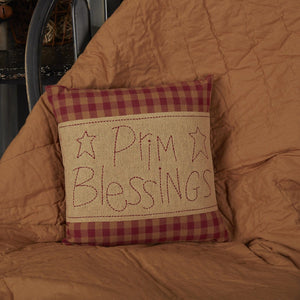 Burgundy Check Prim Blessings Pillow