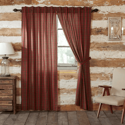 "Tartan Red Plaid 84"" Panel Set"