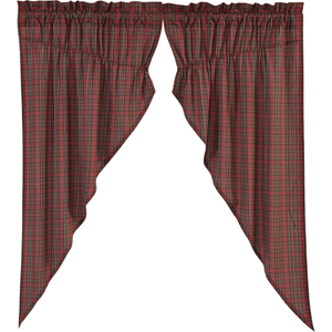 Tartan Red Plaid Prairie Curtain