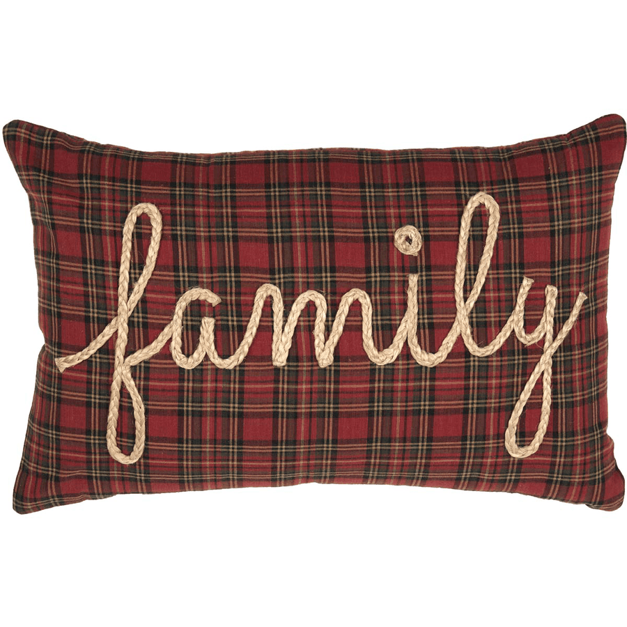 Red Tartan Plaid Family Pillow