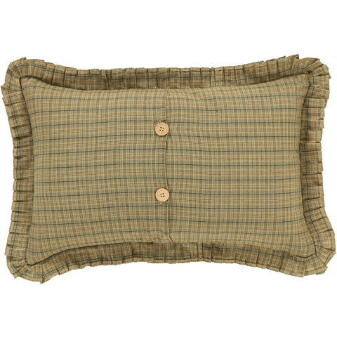 Tea Star Green Plaid Pillow