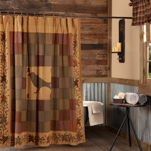 Heritage Farms Crow and Star Applique Shower Curtain