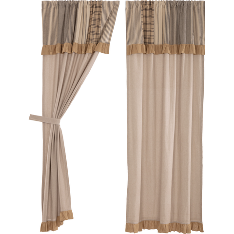 "Sawyer Mill Charcoal 84"" Panel Set With Attached Valance"