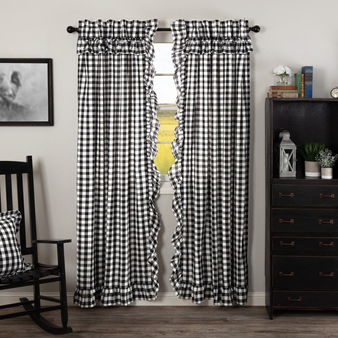 "Annie Buffalo Check Ruffled 84"" Panel Set - Black"