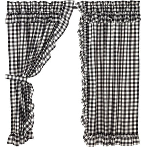 "Annie Buffalo Check Ruffled 63"" Panel Set - Black"