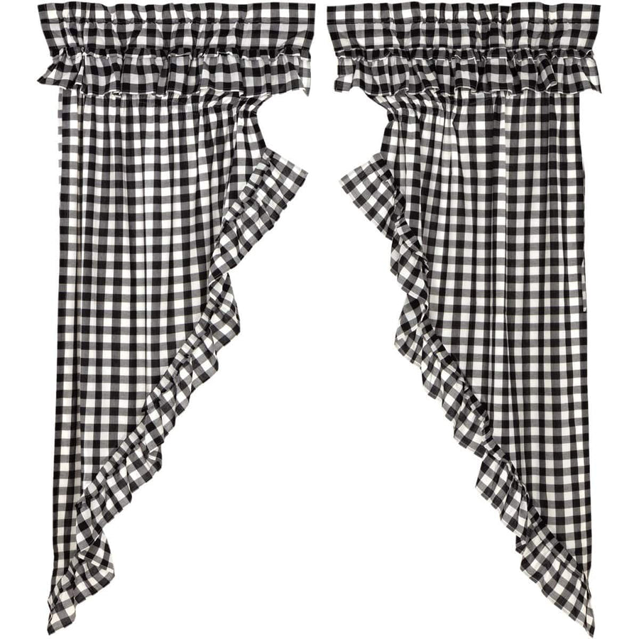 Annie Buffalo Check Ruffled Prairie Curtain - Black
