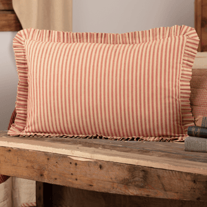 Rory Schoolhouse Red Ticking Stripe Pillow