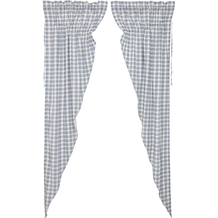 Sawyer Mill Blue Plaid Long Prairie Curtains