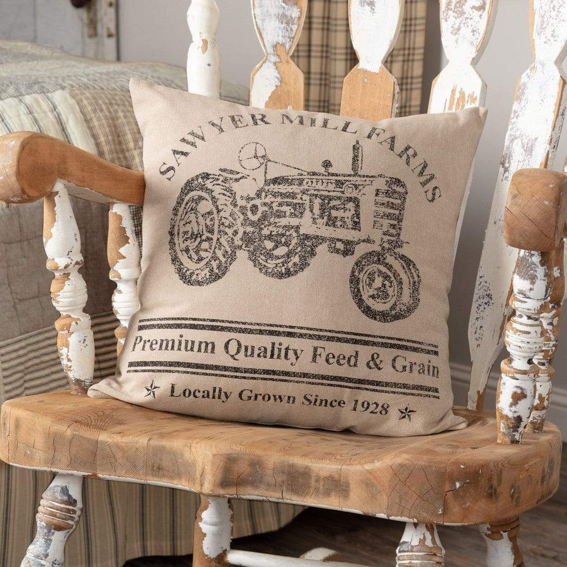 Sawyer Mill Charcoal Tractor Pillow