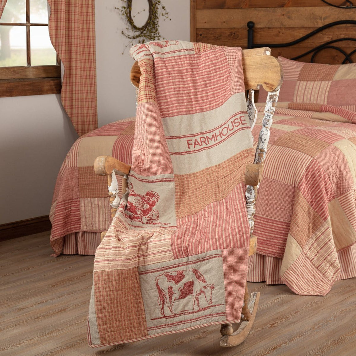 Sawyer Mill Red Farm Animal Quilted Throw