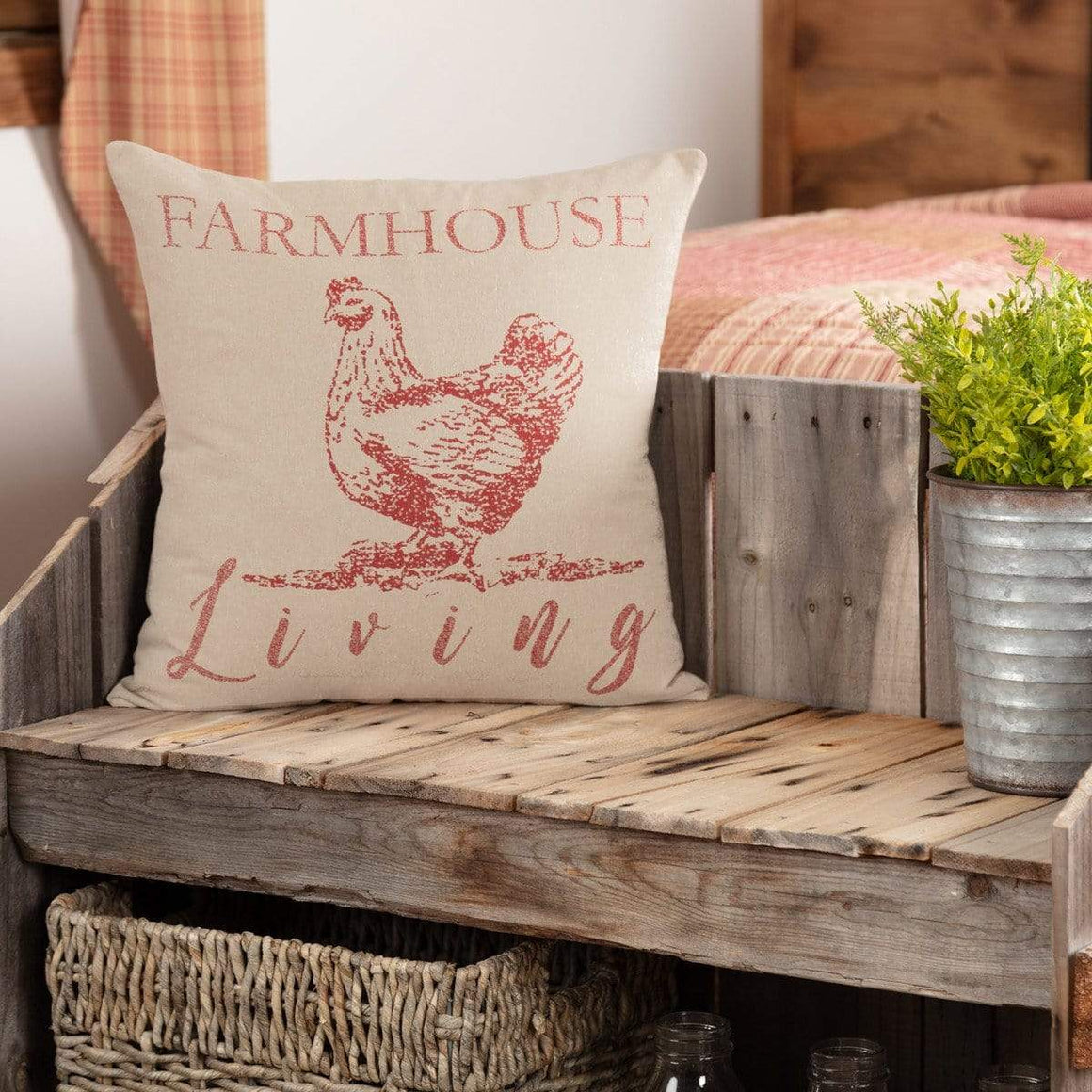 "Sawyer Mill Red Farmhouse Living Pillow 18"" x 18"""