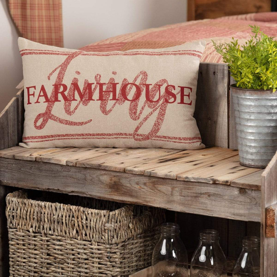 "Sawyer Mill Red Farmhouse Living Pillow 14"" x 22"""
