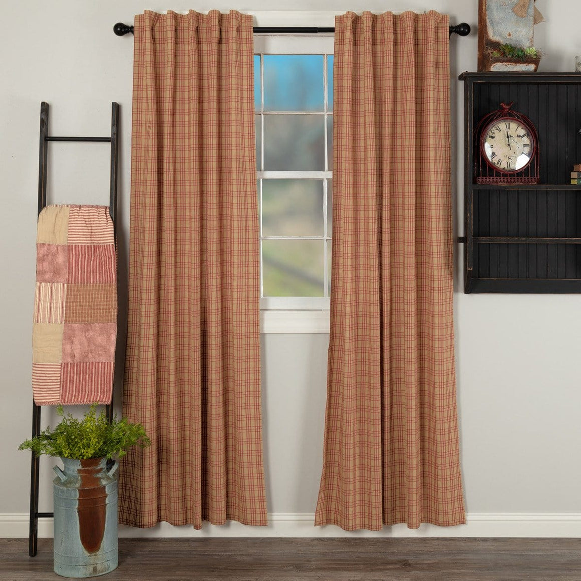 "Sawyer Mill Red Plaid 84"" Panel Set"