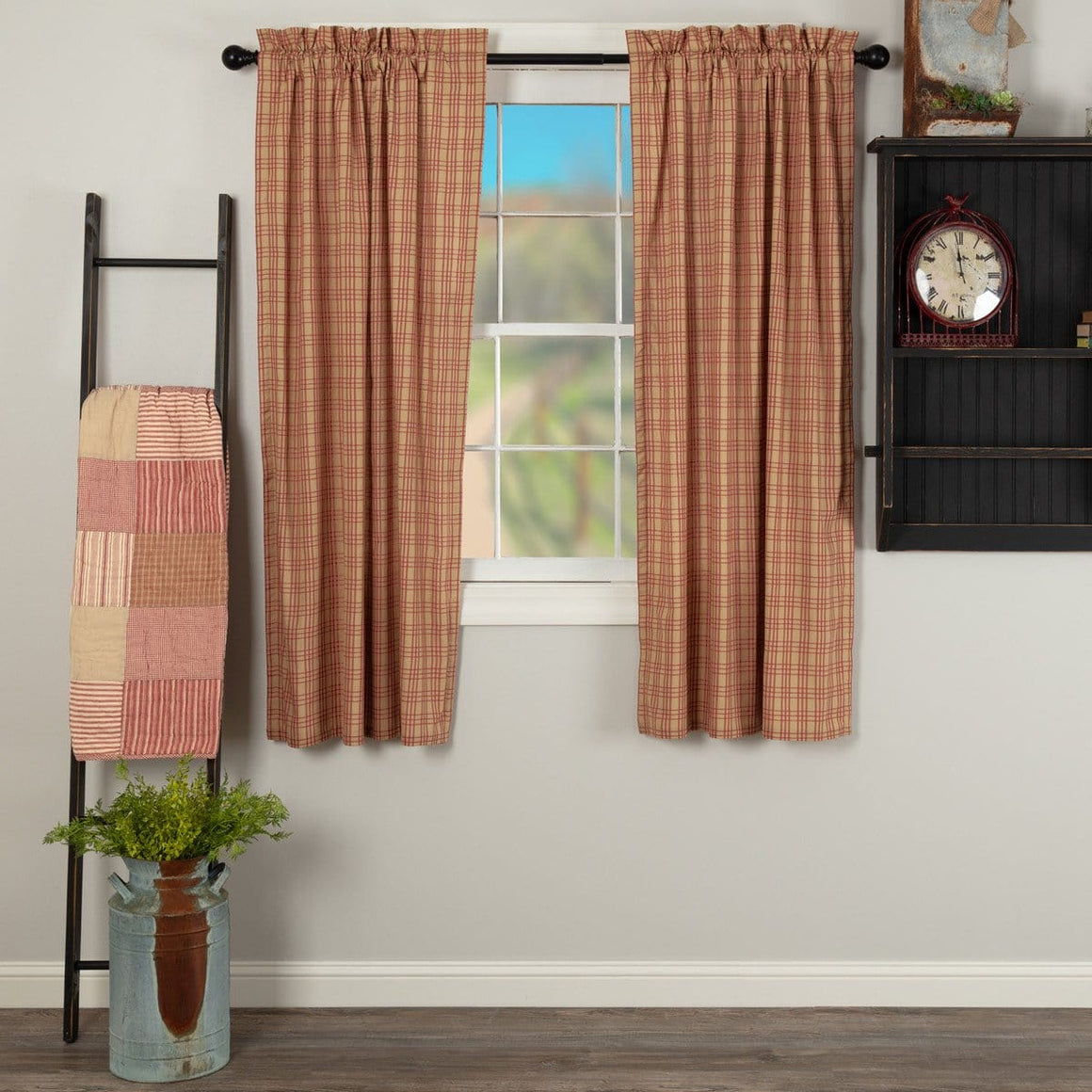 "Sawyer Mill Red Plaid 63"" Panel Set"