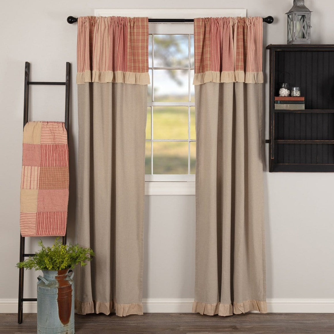 "Sawyer Mill Red 84"" Panel Set With Attached Valance"