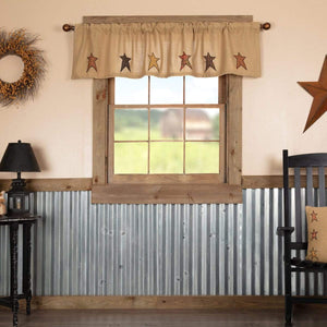 Stratton Burlap Applique Star Valance