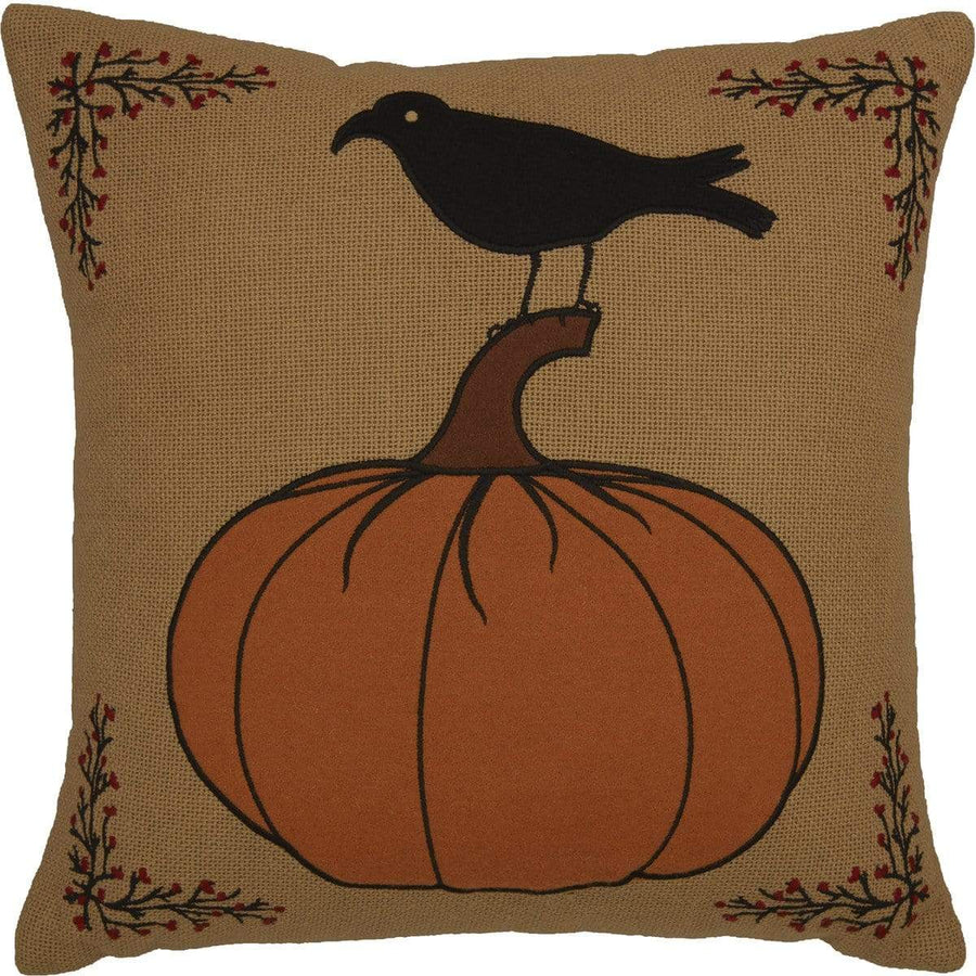 Heritage Farms Harvest Pumpkin and Crow Pillow
