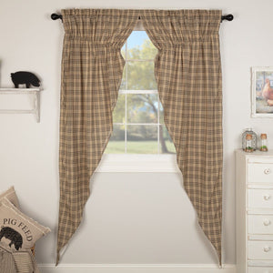 Sawyer Mill Charcoal Plaid Long Prairie Curtain