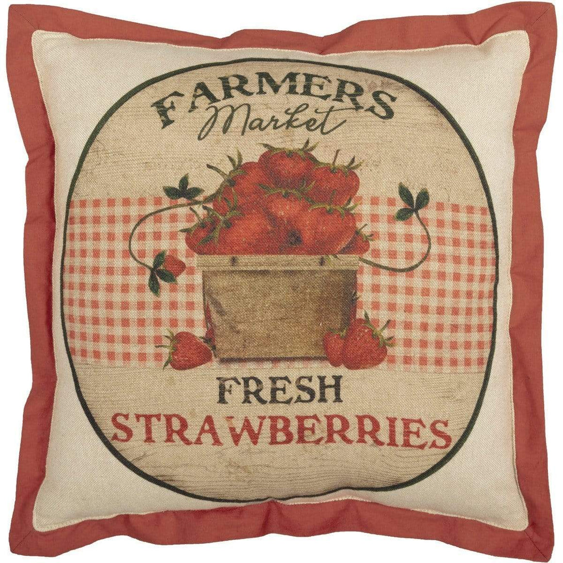Farmer's Market Fresh Strawberries Pillow