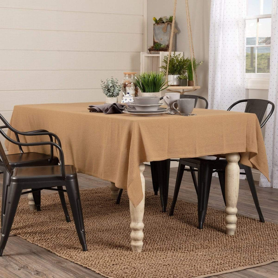 Burlap Natural Rectangle Tablecloth