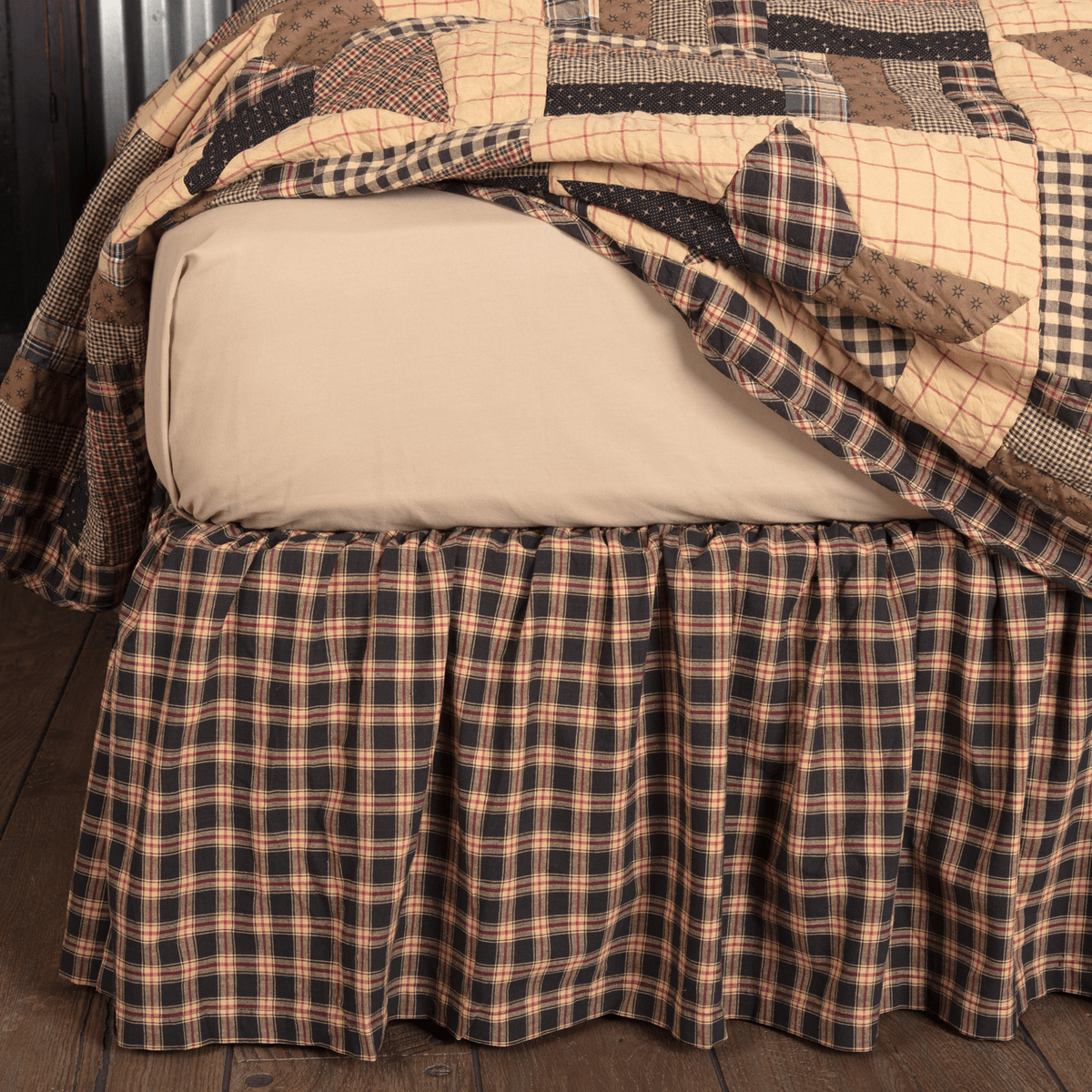 Vhc Rustic Bed Skirt King Queen Twin Dust Ruffle Cotton Plaid Split Corners