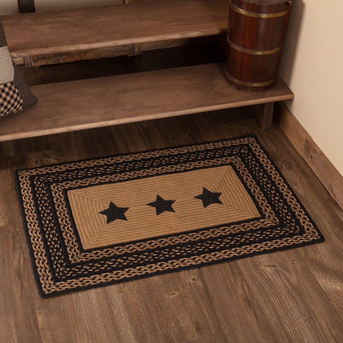 Farmhouse Rectangle Stencil Star Rug