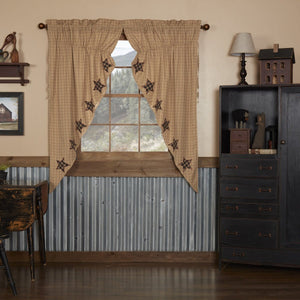 Bingham Star Applique Prairie Curtain