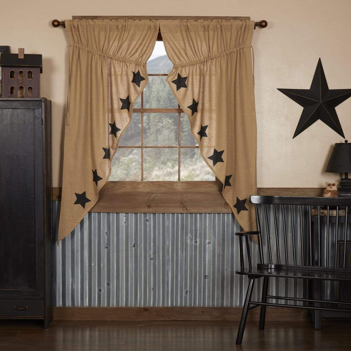 Burlap Natural Black Stencil Star Prairie Curtain