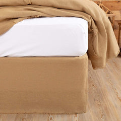 Burlap Natural Fringed Bedskirt 16""