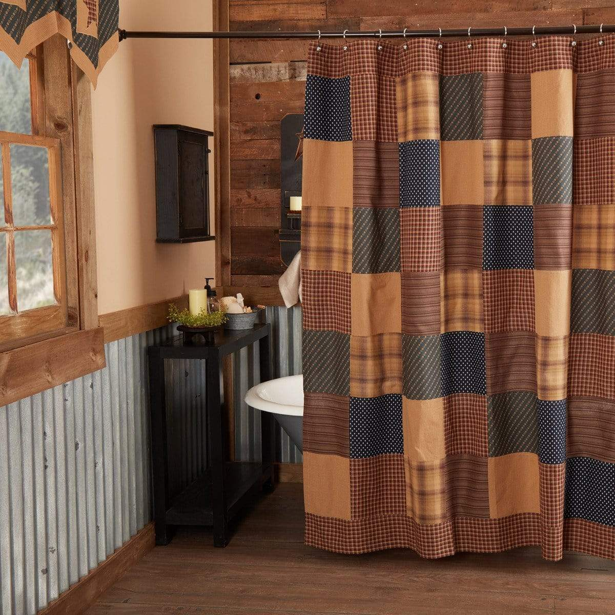 Country Shower Curtains Western Patchwork Lodge Retro Barn Country Linens