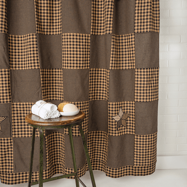 Farmhouse Star Patchwork Shower Curtain