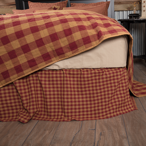 Burgundy Check Bedskirt