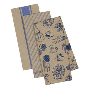 French Market Blue Kitchen Towel Set