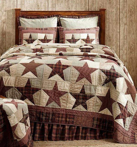 "Abilene Star  Bedskirt 16"" - Retro Barn Country Linens - 3"