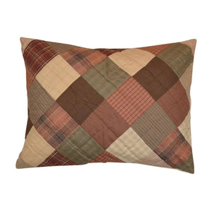 Autumn Plaid Hand Quilted Pillow Sham