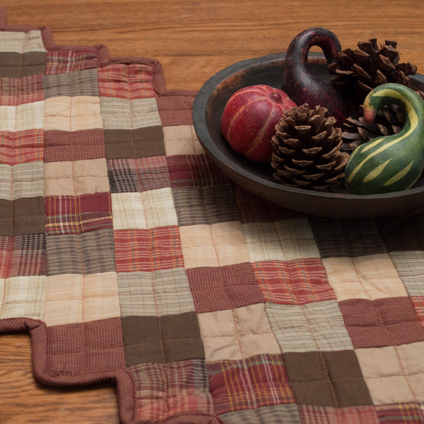 Autumn Plaid Quilted Table Runner Retro Barn Country Linens