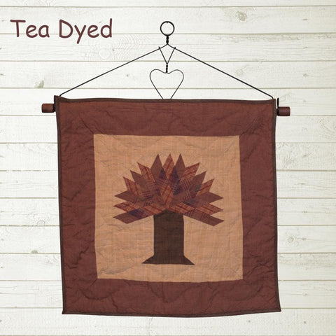 Autumn Tree Quilt Block Tea Dyed