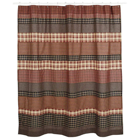 Beckham Patchwork Shower Curtain - Retro Barn Country Linens - 2