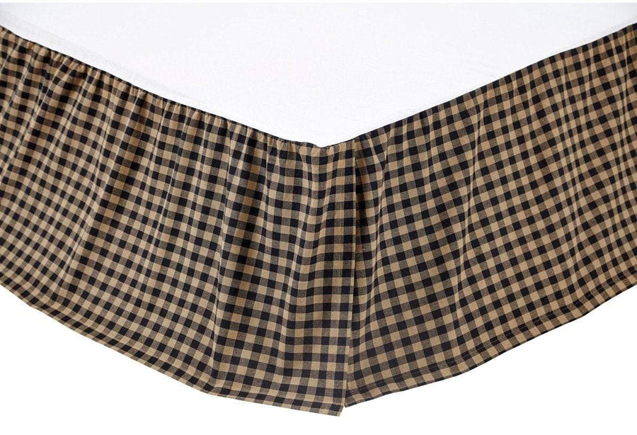 Black Check Bedskirt 16""