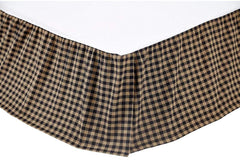 "Black Check Bedskirt 16"" - Retro Barn Country Linens"