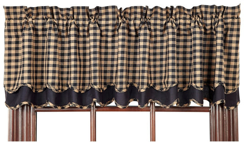 Black Check Layered Valance - Retro Barn Country Linens